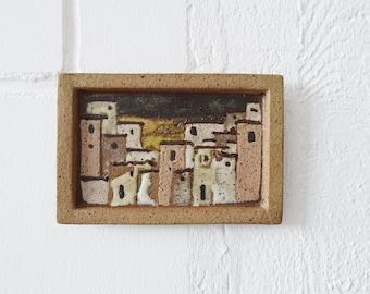 Ceramic painting 80s, Mediterranean mural, wall tile handmade
