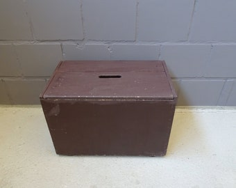 Wooden box with lid, brown wooden chest, simple bench with storage