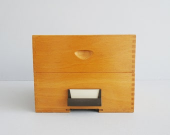 large index box by Becker index furniture with eight compartments, wood storage and ordering system