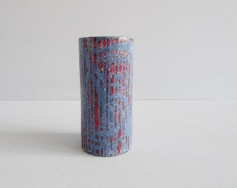 Cylinder vase vase blue red, mid century pottery, modern studio pottery