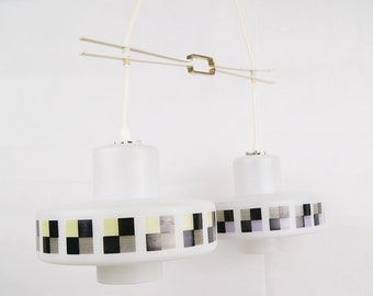 Doria double hanging lamp with glass screens, fancy Mid Century lighting