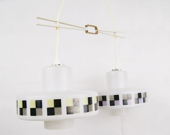 Doria double hanging lamp with glass shades, fancy mid century lighting