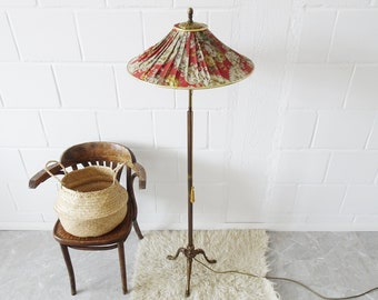 Vintage floor lamp made of brass with floral lampshade, Art Deco floor lamp