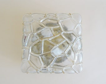 Vintage wall or ceiling lamp made of structured glass amber