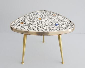Mosaic Beitable Table, Tripartite Flower Stool Mid Century