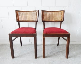 Wooden chair set upholstered with Viennese braid backrest, rattan chair