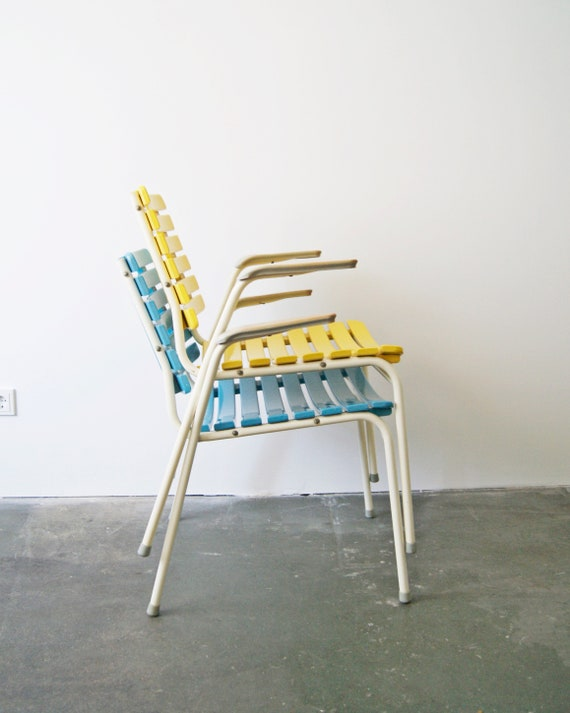 stackable garden chairs with armrests in yellow and light blue, Mid Century Outdoor furniture