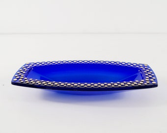 blue glass bowl by Walther glass with golden décor