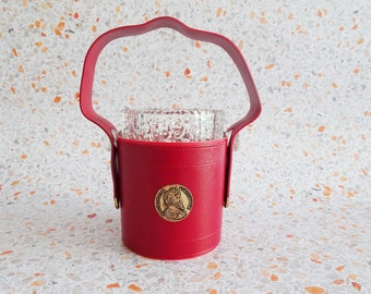 portable ice cube container made of crystal glass with red jacket, Mid Century bottle cooler