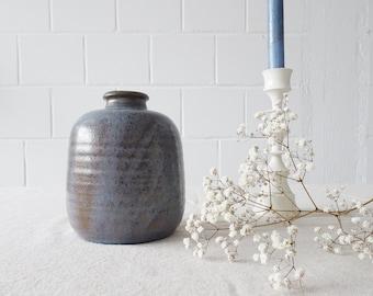 minimalist vase in blue brown, Mid Century studio ceramic
