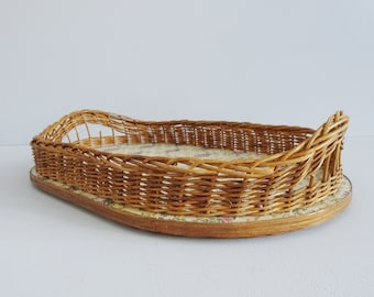 Rattan Serving Tray with Floral Pattern, Tray with Handles