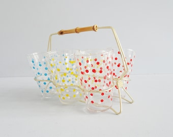 Glasses with dots in stand, set of 6 drinking glasses 1960s