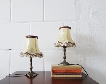 Bedside lamps set in antique style, rustic metal table lamps in bronze look