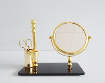Table mirror gold black with storage, make-up mirror