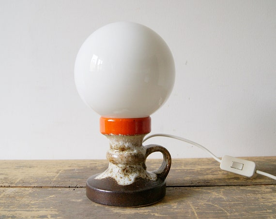 Ceramic table lamp Fat Lava glaze, 70s indirect lighting