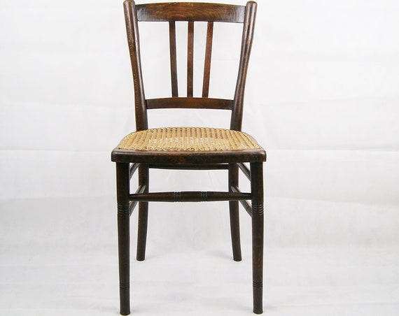 Wooden chair with woven seat, bistro chair, dining chair