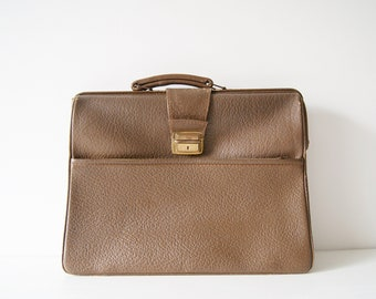 Briefcase 50s in brown leather, work bag, document folder