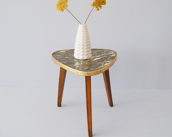 Flower stool 50s in marble look, side table, flower table, plant stand