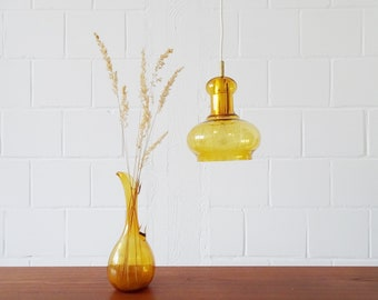 Brass Amber Glass Hanging Lamp 1960s in Bell Shape, Amber Glass Pendant Lamp Mid Century