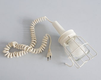 weiße Werkstattlampe mit Spiralkabel, Handlampe mit Glas- und Metallschirm