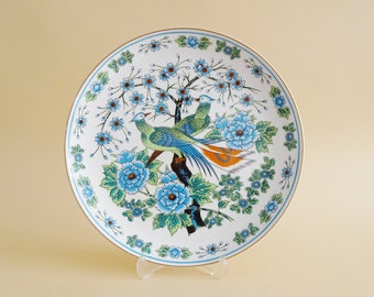 hand-painted wall plate with a peacock and floral decoration, FHH collection plate, ornamental plate