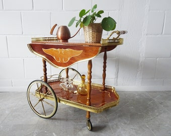Italian serving trolley with inlays, brass wood bar cart with foldable sides 1950s