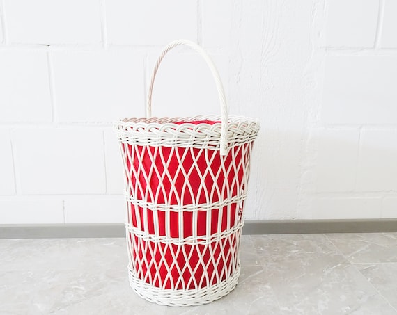 large oval laundry basket red white, laundry container 1970s