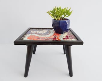 black flower stool with colorful mosaic, flower bench Mid Century, small table