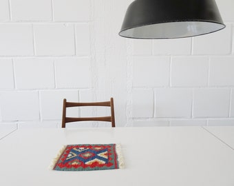 Mini kilim blue red, small tapestry, table runner, doily