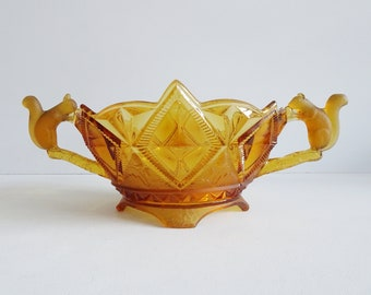 Art Deco press glass bowl amber with squirrel as handle by Brockwitz, large fruit bowl made of brown glass