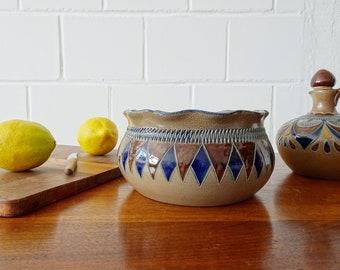 high hand-made bowl vintage, salt-glazed stoneware bowl from Merklebach Manufaktur
