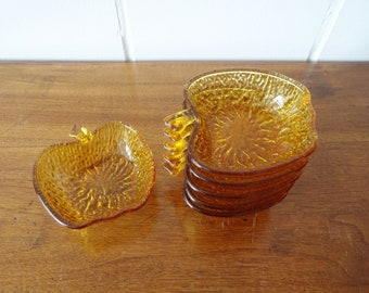 six Italian glass bowls in apple shape, dessert glasses amber, salad bowls