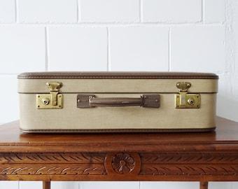 Koffer 50er braun beige, Hartschalenkoffer, großer Reisekoffer mit kariertem Innenraum