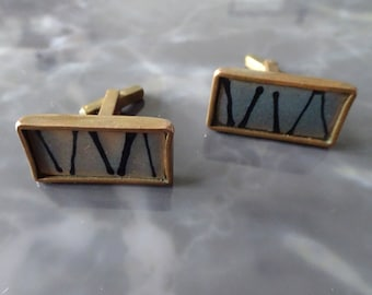 rectangular cuffheads with abstract pattern, vintage men's jewelry