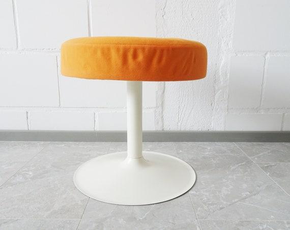 Tulip foot stool made of metal in white orange, 70s metal stools, upholstered stool