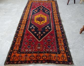 handwoven Kayseri Yahyal rug in wool, Turkish kilim 240 x 113 cm