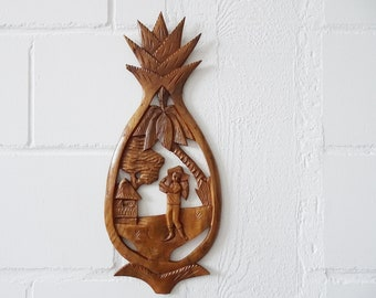 carved wooden painting pineapple, wood relief, large mural 70s