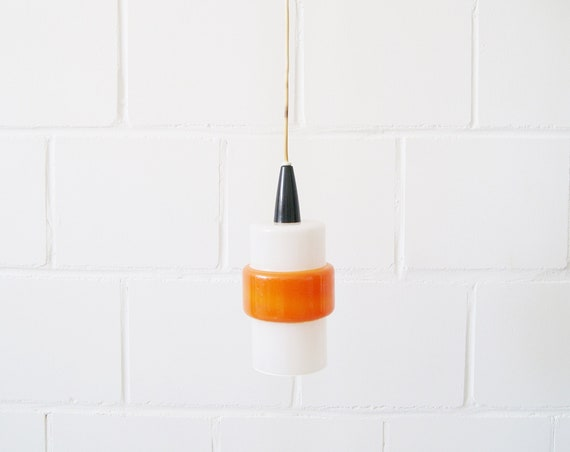 Glass French hanging lamp in white orange, glass pendant lamp