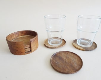 Vintage Wooden Coaster in Stand, Coaster Bar Accessories
