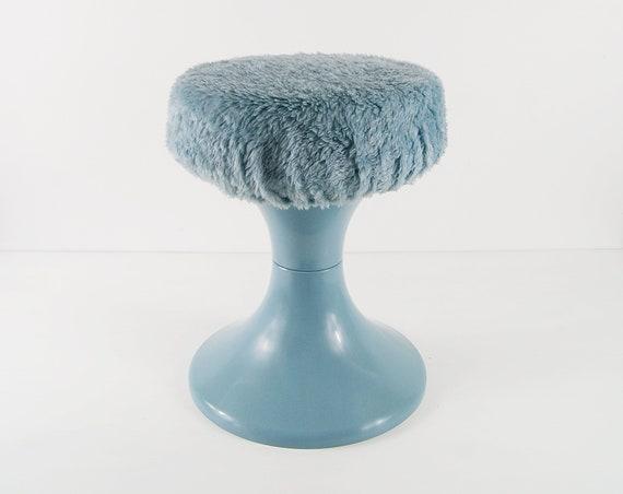 Plastic stool light blue with plush cover, bath stool, retro 70s