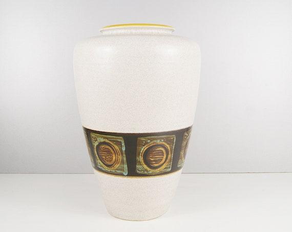 Floor vase by Dümler & Breiden, large ceramic vase grey yellow black