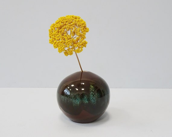 small ball vase in brown green, solifleur ceramic vase