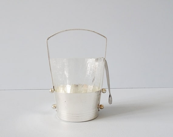 Ice cube container made of glass and metal, ice cooler with pliers