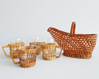 Rattan Serving Set with Four Glass Drinking Cups and a Bottle Holder, Mid Century Bar Accessories