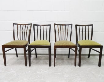 Upholstered chair set in wood with green upholstery, Mid Century dining room chairs, rungs chair