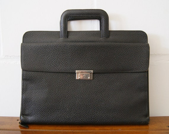 black leather document bag, briefcase for him or her