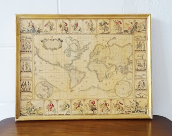 World map framed, paper on wood, made by Nicholas Visscher, old map gold color