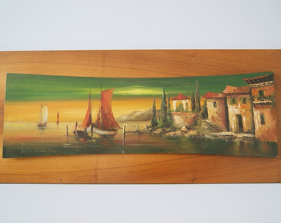 Oil painting on wood Mid Century, oil painting Lake Como Italy
