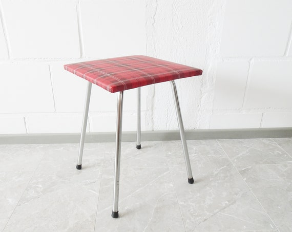 Metal stool with plaid cover, square kitchen stool