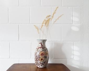 Mid Century Ceramic Vase with Flower Decor and Fat Lava Design, Medium Flower Vase